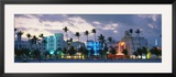 Buildings Lit Up at Dusk  Ocean Drive  Miami Beach  Florida  USA