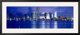 Panoramic View of an Urban Skyline at Night  Miami  Florida  USA