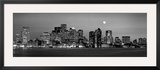 Black and White Skyline at Night  Boston  Massachusetts  USA