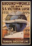 Hamburg American Line, Magazine Plate, USA, 1912 Reproduction encadrée