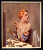 Perfume Woman Doing Her Make-Up, Budoir Putting On Perfume, UK, 1930 Reproduction encadrée