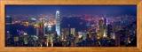Port de Victoria et panorama urbain vus depuis le Pic Victoria, Hong Kong, Chine Photo encadrée par Michele Falzone