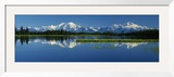 Reflection of Mountains in Lake  Mt Foraker and Mt Mckinley  Denali National Park  Alaska  USA