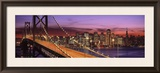 Bay Bridge Illuminated at Night  San Francisco  California  USA