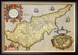 Map of the Island of Cyprus Reproduction encadrée par Abraham Ortelius