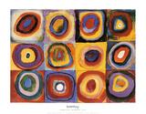 Etude de couleurs, carrés avec des cercles concentriques (Farbstudie Quadrate, vers 1913) Reproduction d'art par Wassily Kandinsky