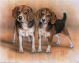 Dan McManis Two Beagle Pups Art Print Poster