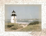 Lighthouse (Over Map 1) Art Poster Print
