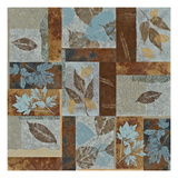Blue Fusion II - Geometric Leaves in Blue and Brown