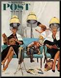 &quot;Cowboy Asleep in Beauty Salon &quot; Saturday Evening Post Cover  May 6  1961
