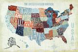 Bleu moderne : carte des Etats-Unis Reproduction d'art par Michael Mullan