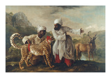Cheetah and Stag With Two Indians