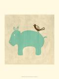 Meilleurs amis - Hippopotame Reproduction d'art par Chariklia Zarris