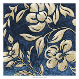 Indigo and Cream Brocade I
