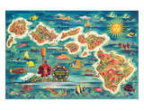 Dole Map of the Hawaiian Islands c.1950 Giclée par Joseph Fehér