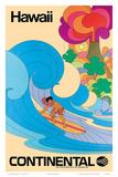 Continental Hawaii Surfer c.1960's Reproduction d'art