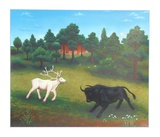 Untitled (White Deer and Bull)