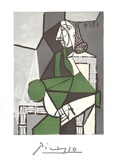 Portrait de Femme Assise  Robe Verte