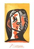 Tete de Femme en Gris et Rouge sur Fond Ochre