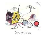 Femme sur la Plage Jouant au Balloon Reproduction pour collectionneurs par Pablo Picasso