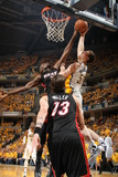 Indianapolis  IN - May 24: Miami Heat and Indiana Pacers - Tyler Hansbrough and Joel Anthony