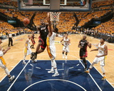 Indianapolis  IN - May 24: Miami Heat and Indiana Pacers - LeBron James and Roy Hibbert