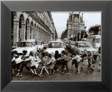 Les écoliers Reproduction encadrée par Robert Doisneau