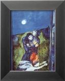 Les amoureux sous la lune Reproduction encadrée par Marc Chagall