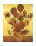 Fifteen Sunflowers on Gold, c.1888 Reproduction d'art par Vincent Van Gogh