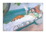 Woman Lying on a Bench