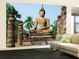 Sukhothai Wat Sra Si Temple Buddha Statue Huge Wall Mural Art Print Poster