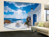 Santorini Sunset Huge Wall Mural Art Print Poster
