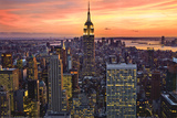 New York City (Empire State Building  Sunset) Art Poster Print