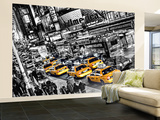 New York City Taxi Cabs Queue Huge Wall Mural Art Print Poster