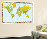 World Map with Flags Mural