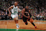Boston  MA - June 3: Dwayne Wade and Ray Allen
