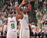 Boston  MA - June 3: Kevin Garnett and Rajon Rondo
