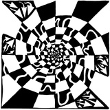 Checkers Swirl Maze Visual Illusion