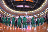 Boston  MA - June 3: The Boston Celtics line up in Game Four of the Eastern Conference Finals