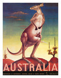 Australia  Airline &amp; Travel Kangaroo c1957