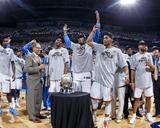 Oklahoma City  OK - June 6: Kendrick Perkins  Kevin Durant  Serge Ibaka and Russell Westbrook