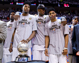 Oklahoma City  OK - June 6: Kevin Durant  Serge Ibaka and Russell Westbrook