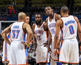 Oklahoma City  OK - June 6: Derek Fisher  Nick Collison  James Harden  Kevin Durant and Russell Wes