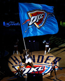 Oklahoma City  OK - June 12: The Oklahoma City Thunder mascot waves a flag at center court