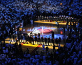 Miami  FL - June 17: General view of the arena as teams line up for Game Three of the 2012 NBA Fina