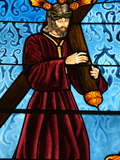 Stained Glass of Jesus Carrying His Cross  San Jeronimo's Church  Madrid  Spain  Europe