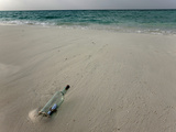 Message in a Bottle on a Tropical Beach  Kuramathi Island  Ari Atoll  Maldives  Indian Ocean  Asia