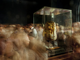 Tourists Visit King Tut's Funerary Mask in Cairo's Egyptian Museum