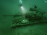 A Tank Sunk in a Zone of Artificial Reefs Off the Coast of Alabama