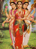 Picture of Hindu Goddesses Parvati  Lakshmi and Saraswati  India  Asia
